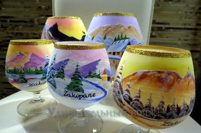 бокалы с ручной росписью из Закопане