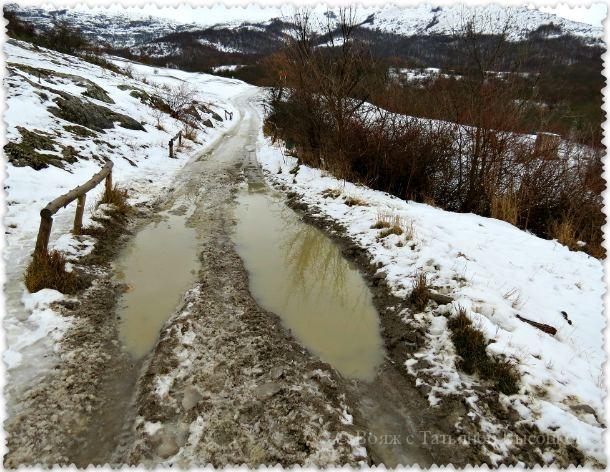 doroga v peshheru Kizil-Koba zimoj