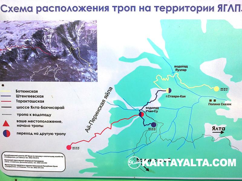 схема расположения троп на территории ЯГЛПЗ